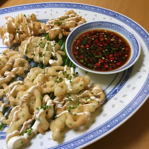 Chive Funnel Cakes with Chili Padi Sauce