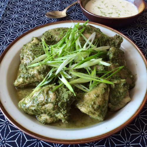 Green Chicken with Coconut Green Peppercorn Sauce