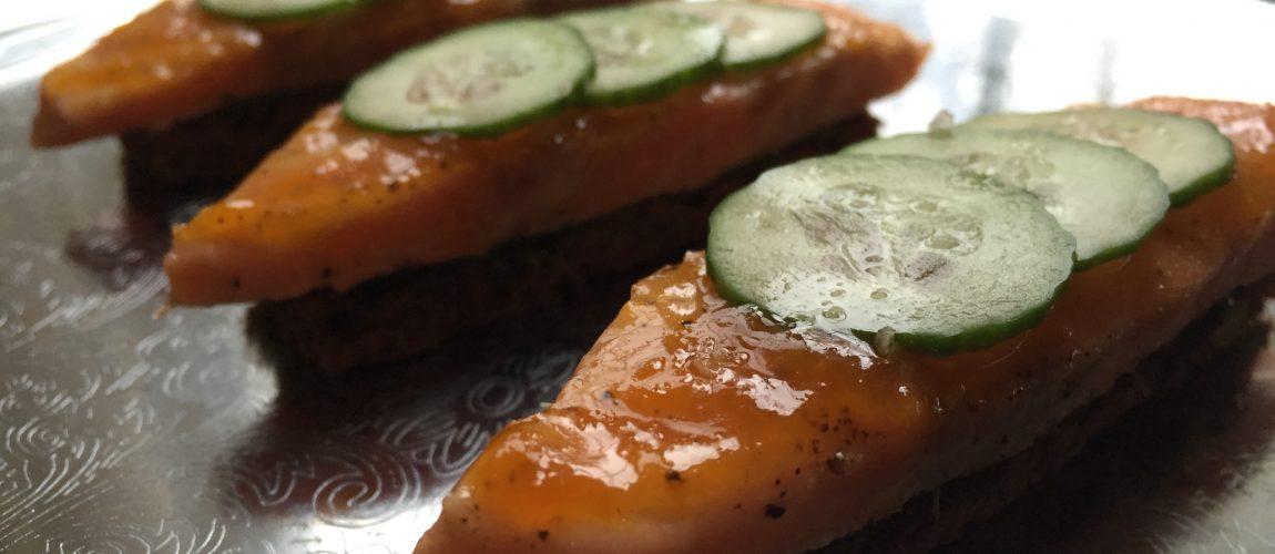 Orange Glazed Salmon Finger Sandwiches