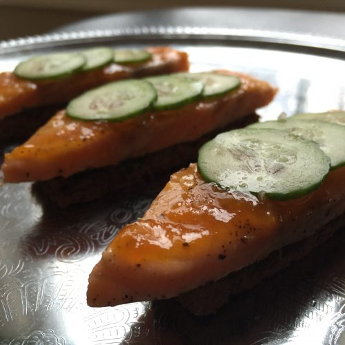 Orange Glazed Salmon Finger Sandwiches