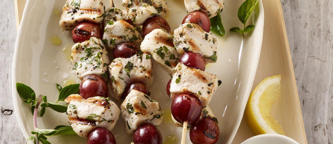 Chicken Grape Skewers & White Grape BBQ Sauce