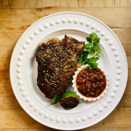 Brined Porterhouse Pork Chop & Fire Roasted Salsa